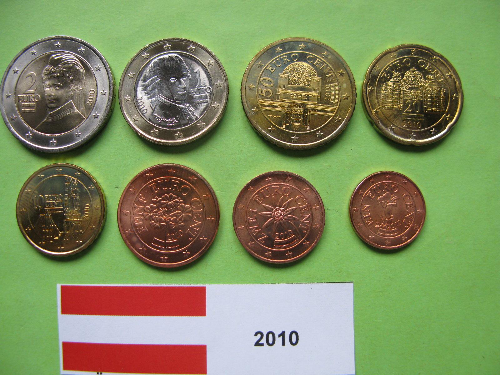 Австрия набор евро 2010  UNC