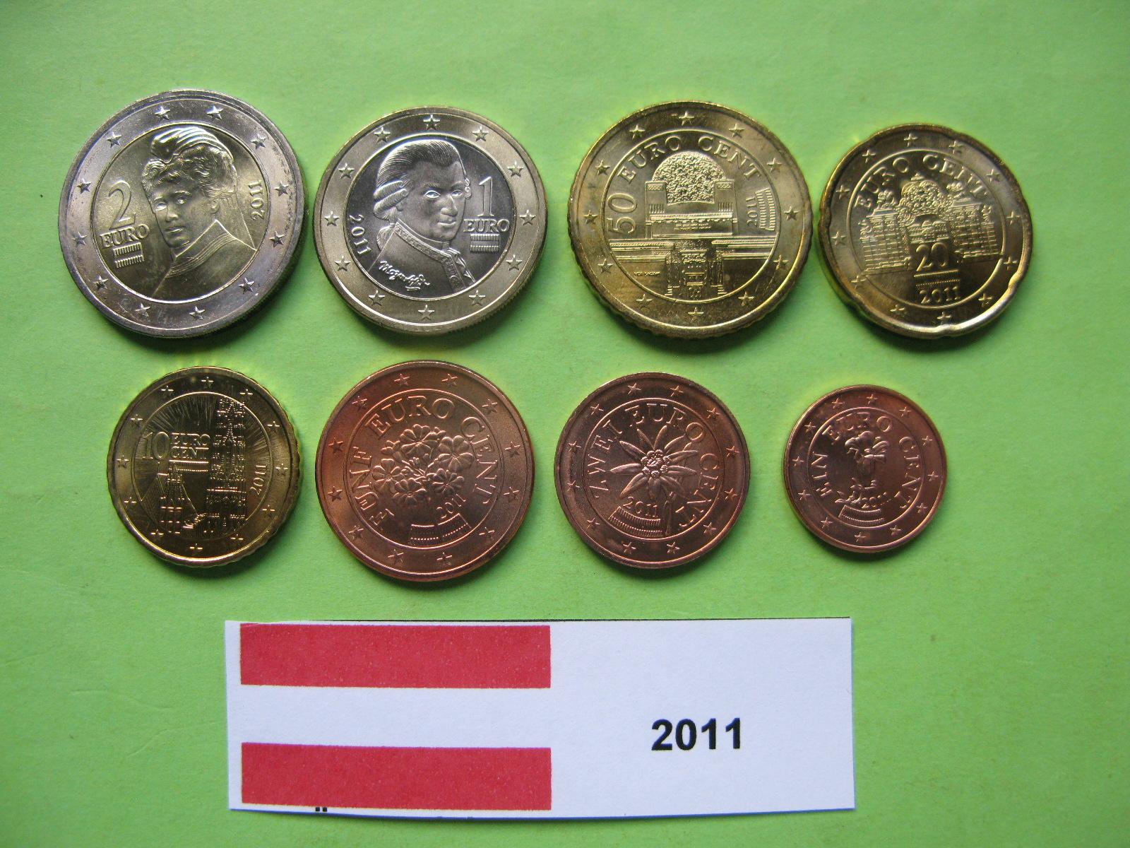 Австрия набор евро 2011  UNC