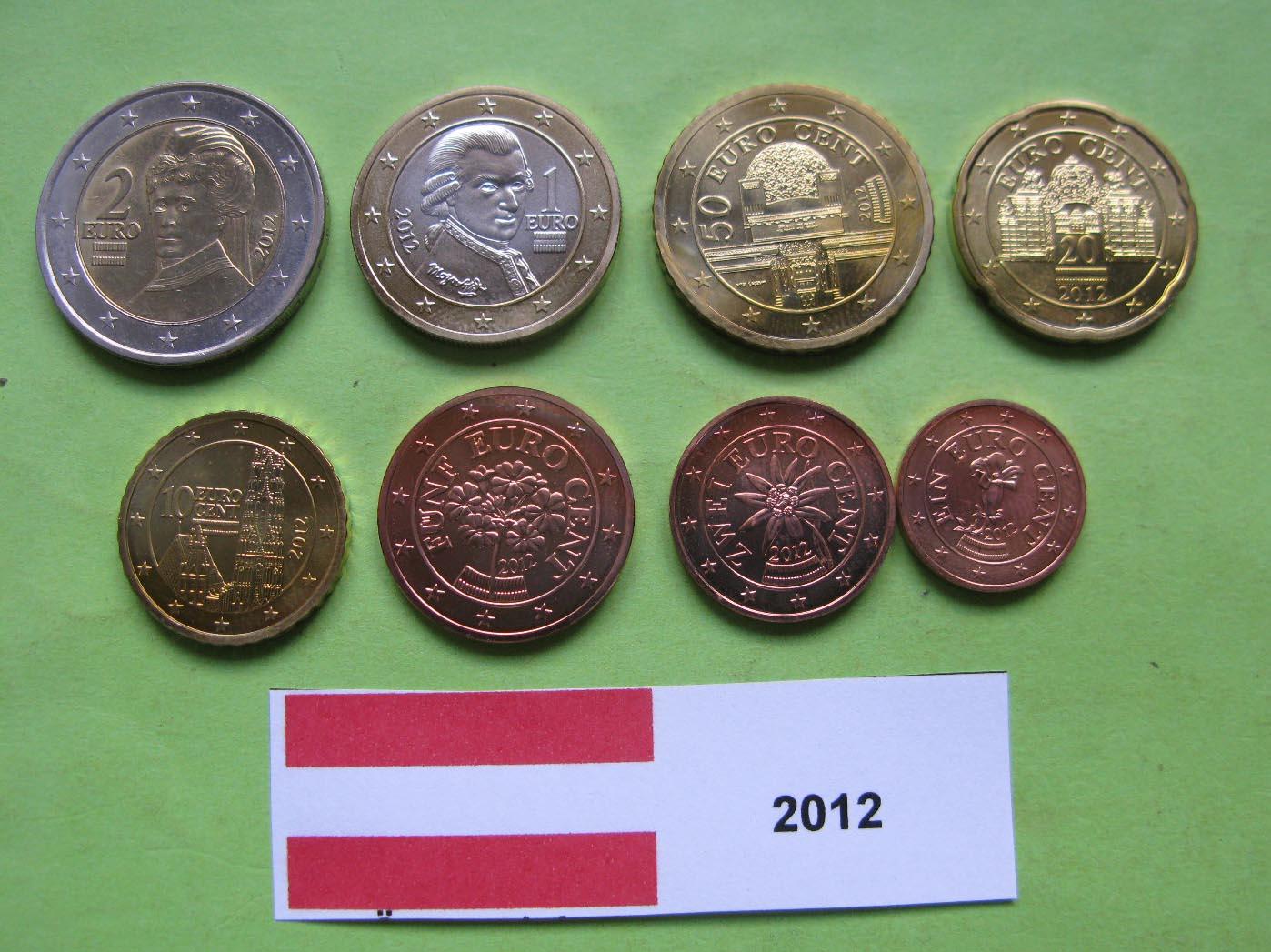 Австрия набор евро 2012  UNC