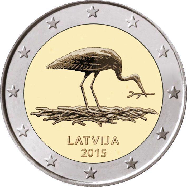 Латвия 2 евро 2015 г. Черный аист