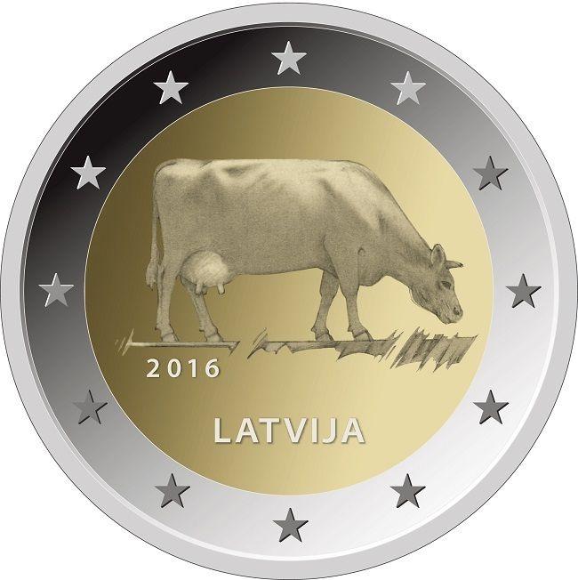 Латвия 2 евро 2016 г. Корова
