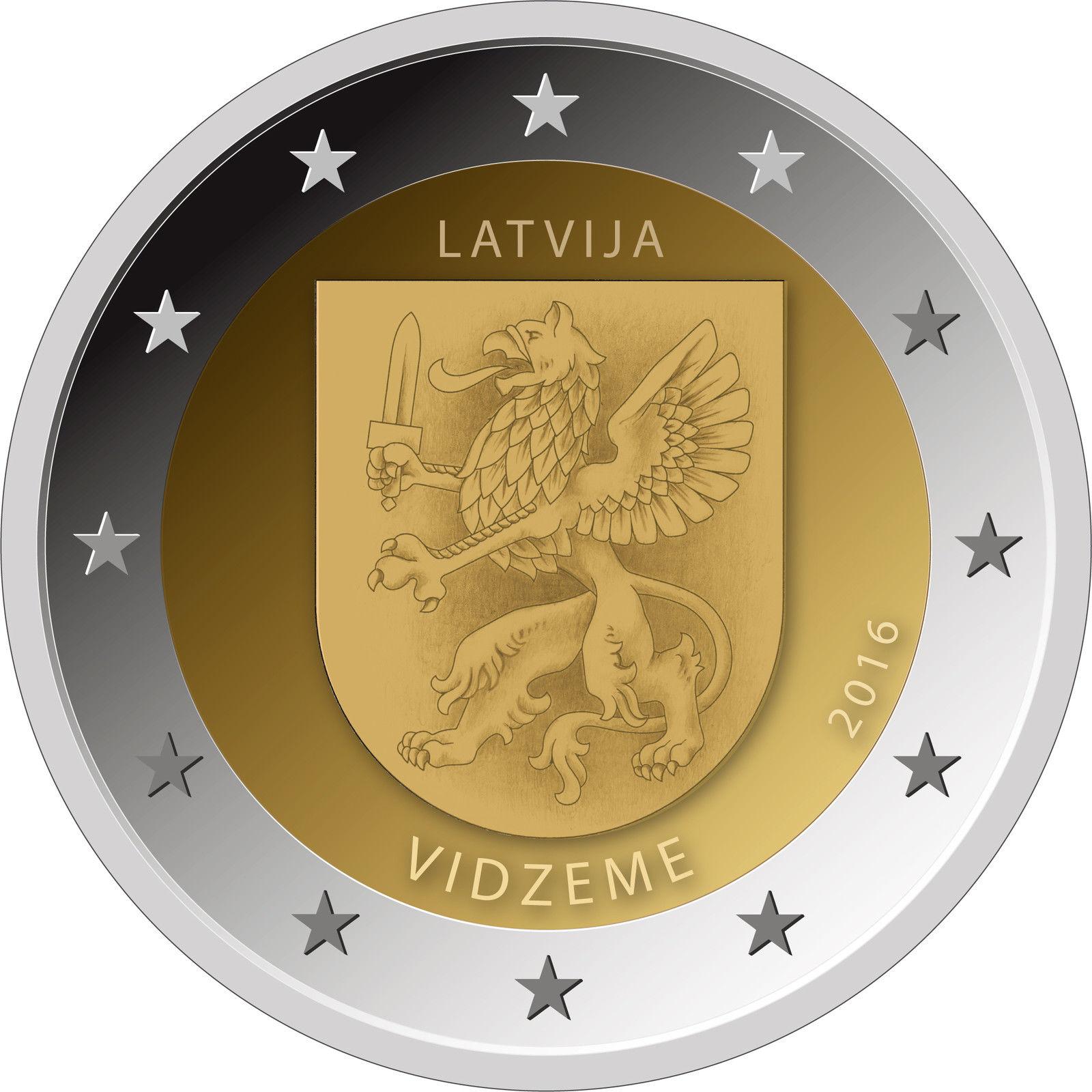 Латвия 2 евро 2016 г. Историческая область - Видземе
