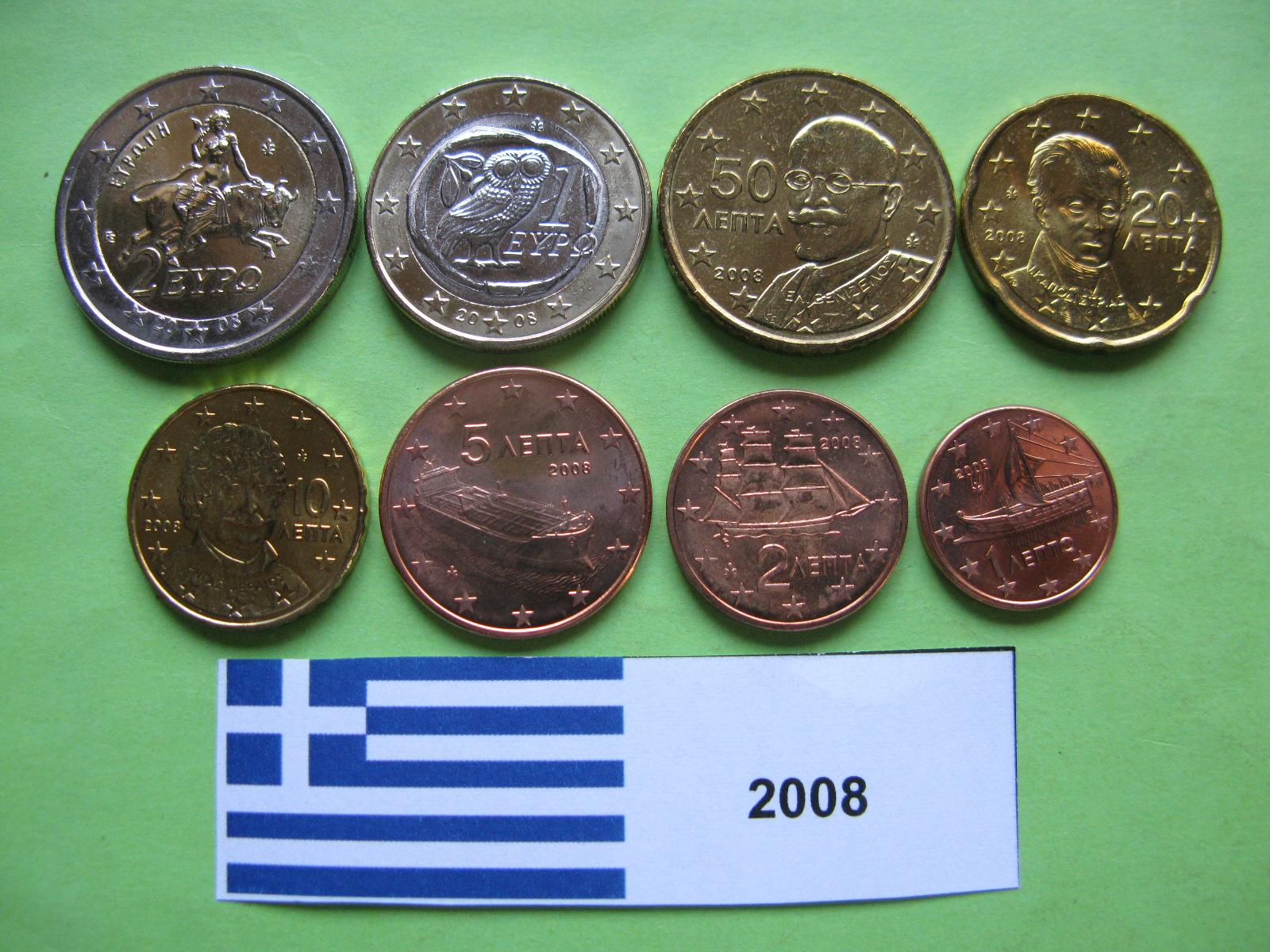 Греция набор евро  2008 г. UNC