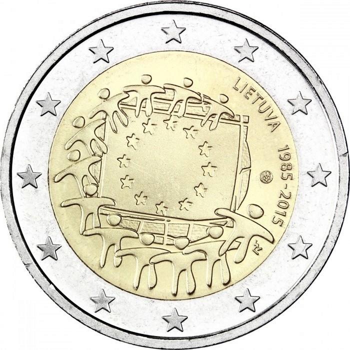 Литва 2 евро 2015 г.  30 лет флагу Евросоюза