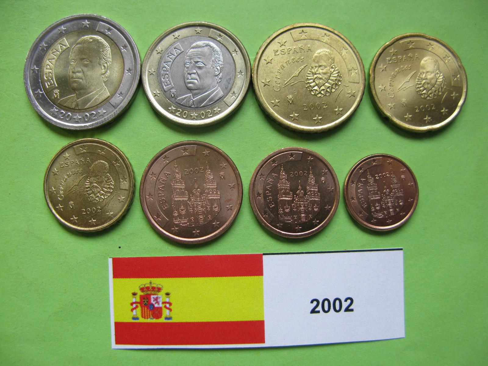 Испания набор  евро 2002  UNC.