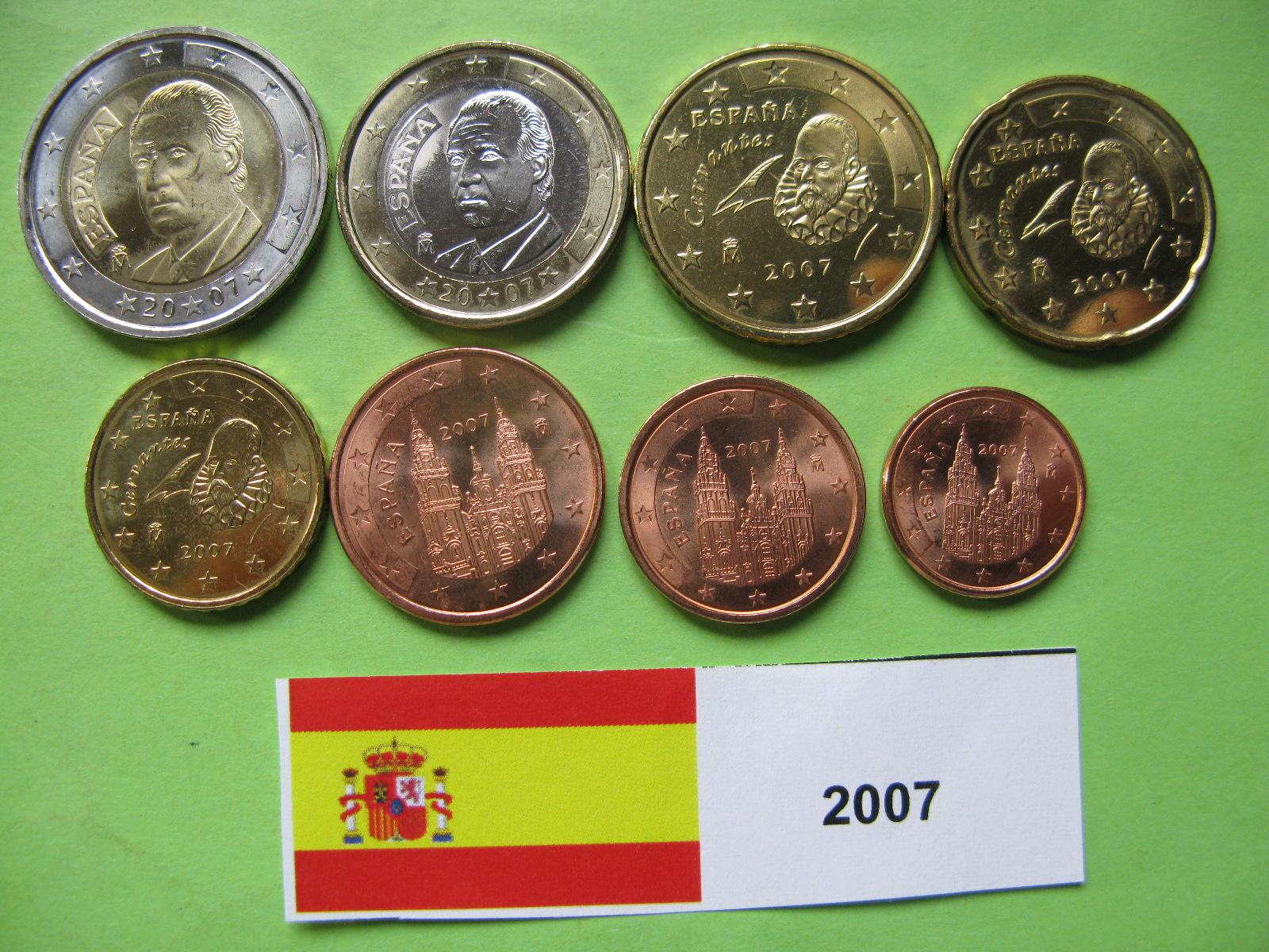 Испания  набор евро  2007  UNC.