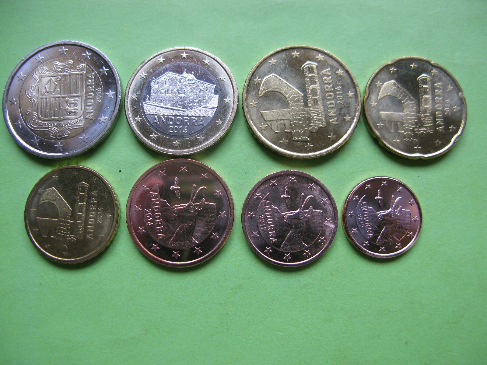 Андорра набор евро 2014-2017  UNC