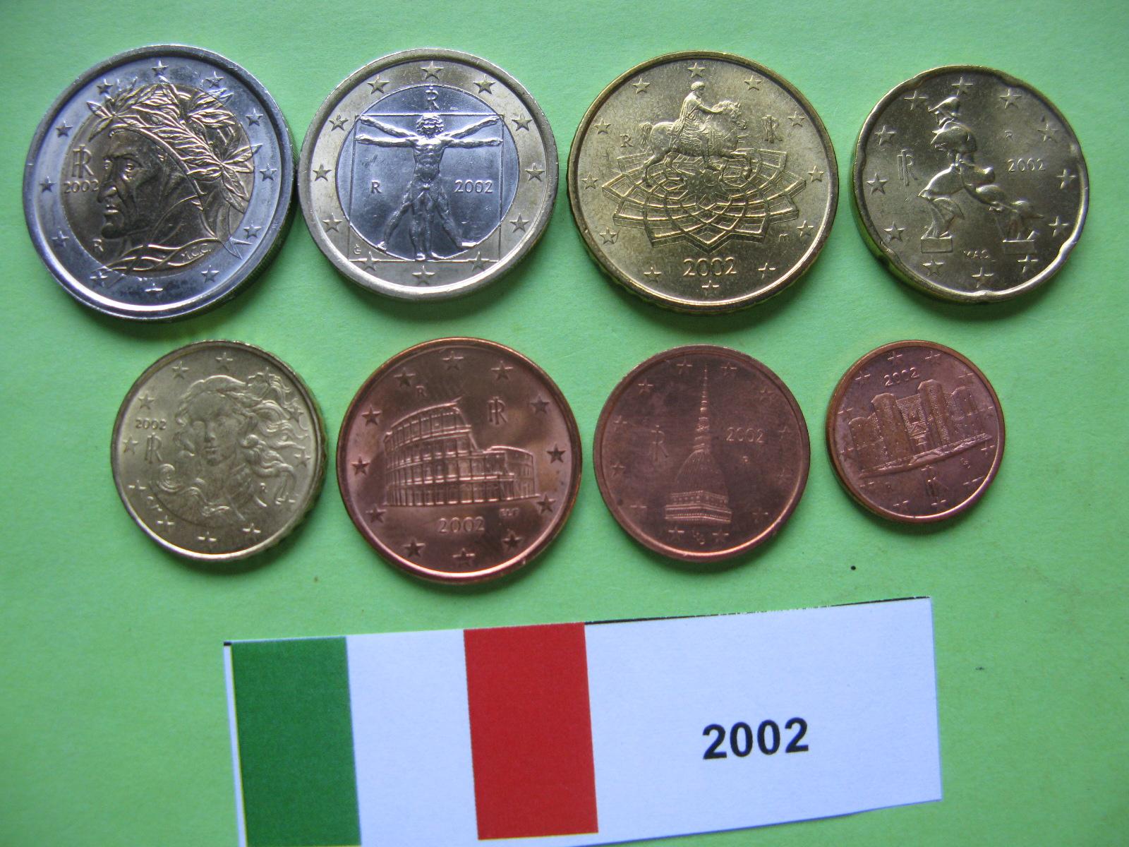 Италия набор евро 2002 UNC