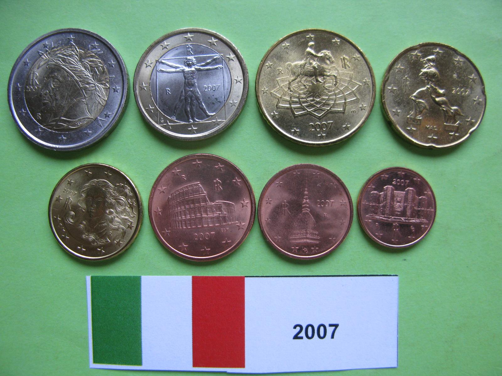 Италия набор евро 2007 UNC