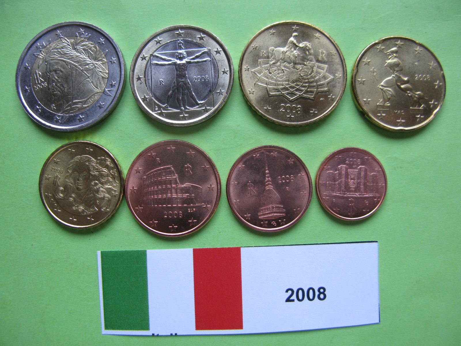 Италия набор евро 2008 UNC